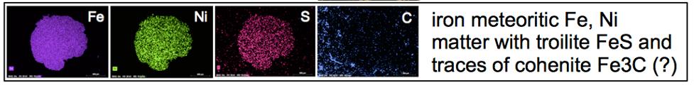 Niederrhein-Impakt EDX Analyse meteoritisches Material